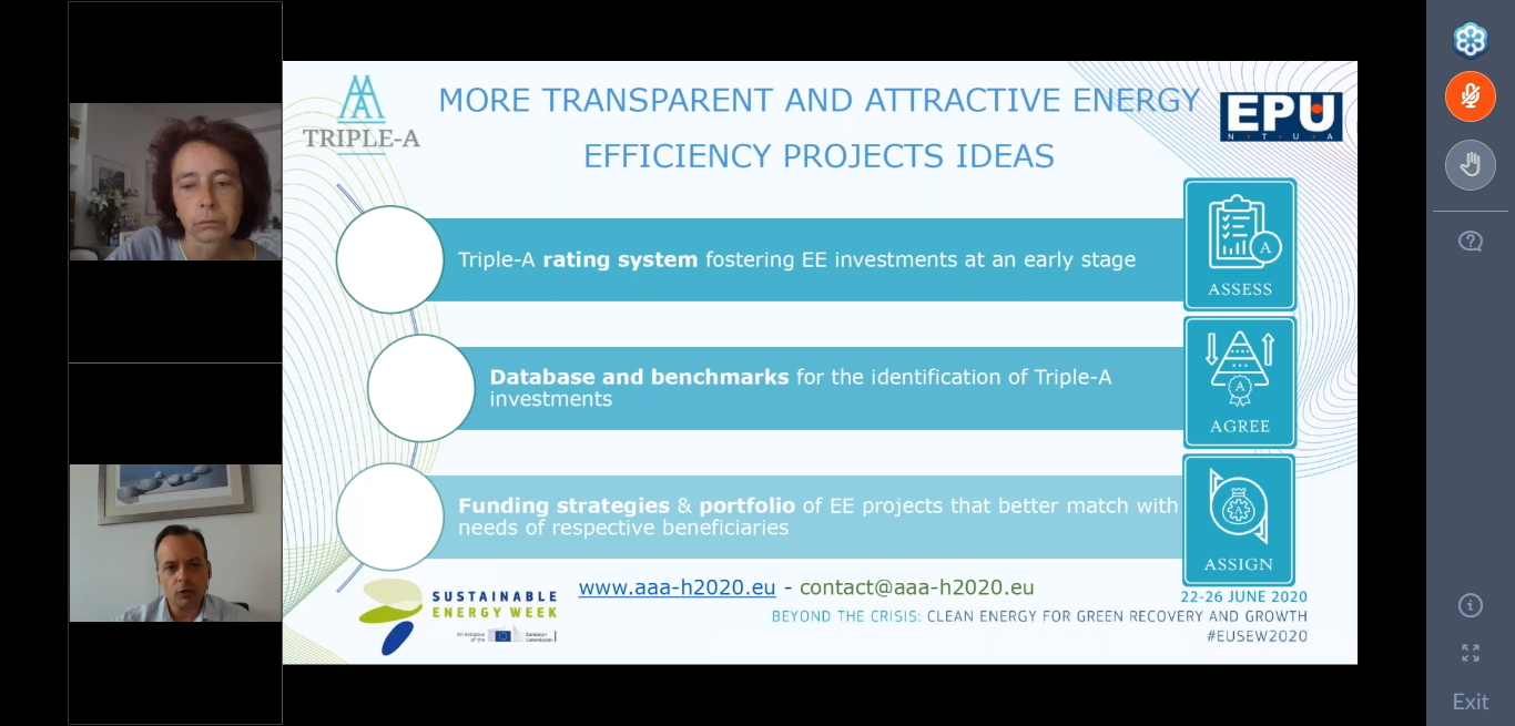 Dr. Haris Doukas presenting how Triple-A supports transparent and attractive energy efficiency projects ideas